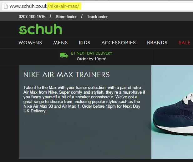 schuh website - keyword in URL